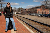 Esperando el tren — Foto de Stock