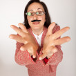 Funny businesswoam with fake mustache — Stock Photo
