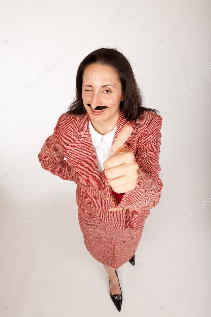 Humorous shot of a silly looking businesswoman with a binder and a fake mustache and outstretched hands — Stock Photo #10293054