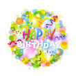Happy Birthday Poster With Bokeh — Stock Vector
