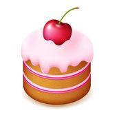 Birthday Cake With Cherry — Stock Vector