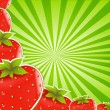 Strawberry And Green Sunburst - Stock Vector