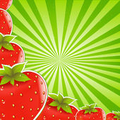 Strawberry And Green Sunburst — Stock Vector
