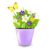 Lilac Pot With Flowers — Stock Vector