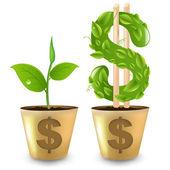Altın pot ile dolar ve filiz — Stok Vektör