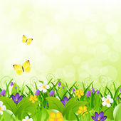 Flowers With Grass With Butterfly And Bokeh — Stock Vector