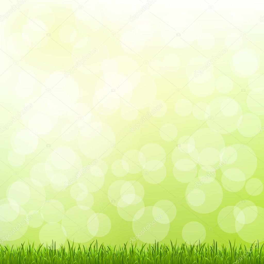 Green Grass And Bokeh And Blur, Vector Illustration — Stock Vector #10682455