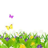 цветы с травой с бабочкой — Cтоковый вектор