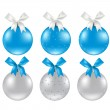 Christmas Silver And Blue Ball — Stock Vector