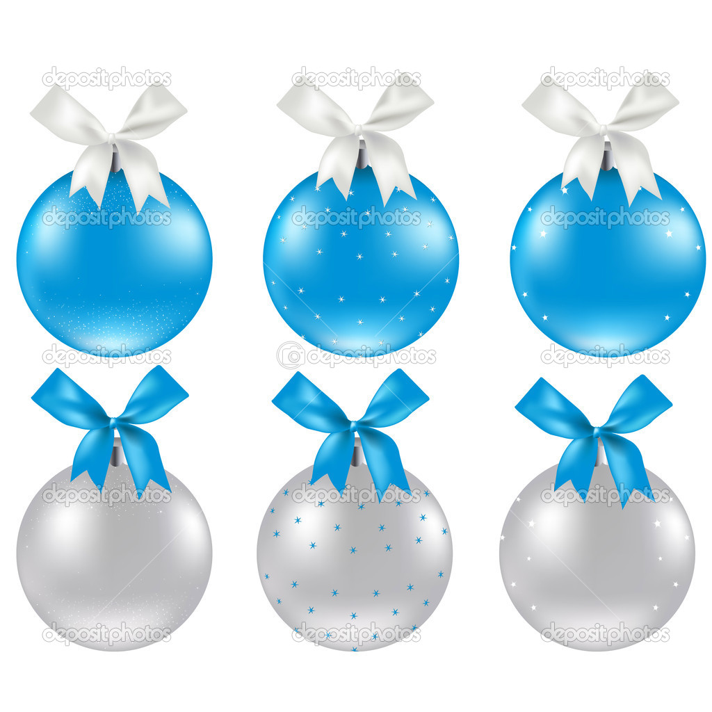 Christmas Silver And Blue Ball, Vector Illustration   #8028843