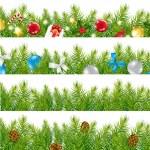 Border With Christmas Tree Set — Stock Vector