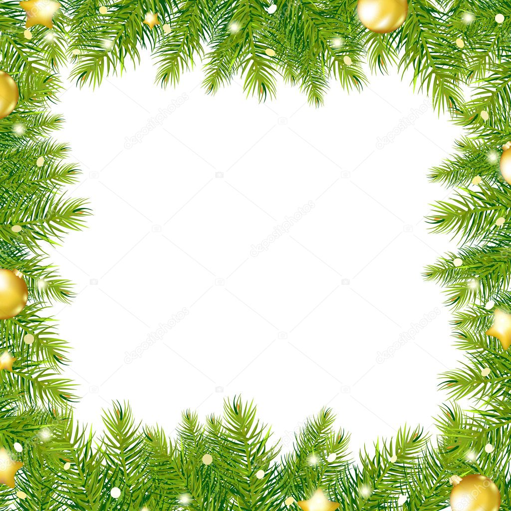 Border With Christmas Tree And Gold Ball - Stock IllustrationChristmas Tree Border