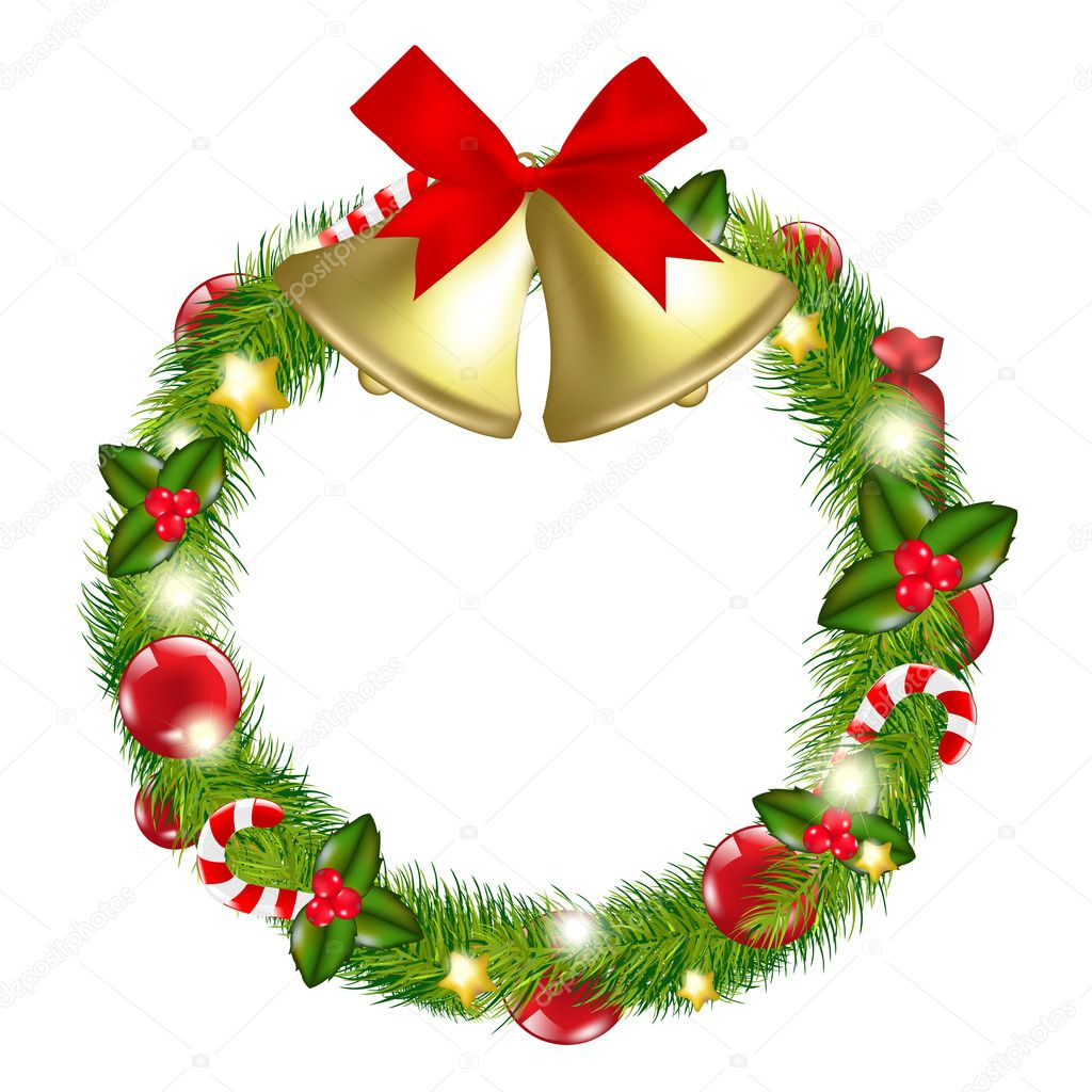 Merry Christmas Wreath With Bells, Isolated On White Background, Vector Illustration — Stok Vektör #8183284