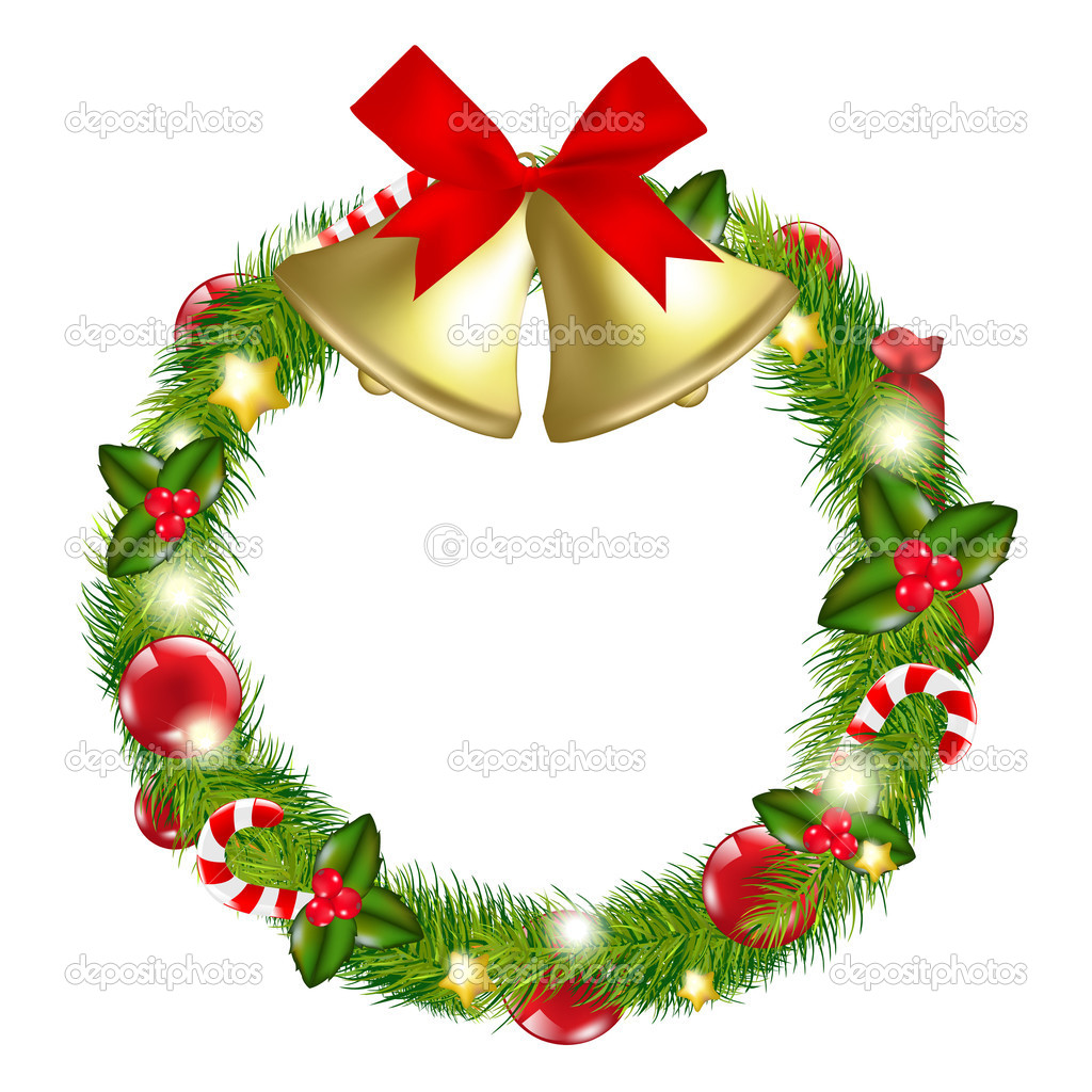 Merry Christmas Wreath With Bells, Isolated On White Background, Vector Illustration  Stockvectorbeeld #8183284