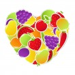 Heart From Fruit And Vegetables — Stock Vector