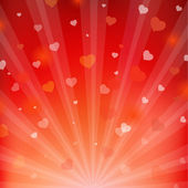 Backgrounds With Beams And Hearts — Stock Vector