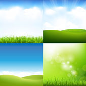Grass And Sky Set — Stock Vector