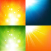 Underwater And Sunburst — Stock Vector