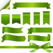 グリーン リボン セット — ストックベクタ