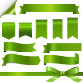 Green Ribbons Set — Vector de stock