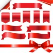 Red Ribbons Set — Vector de stock #9761401