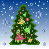 Christmas tree with dragons — Stock Vector