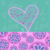 Rosa hjärta — Stockvektor