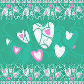 Hearts on a green background — Stock Vector