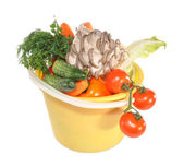 Grönsaker i en plasthink — Stockfoto