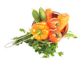 Vegetables in a metal colander — Stock Photo