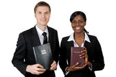 Christian counsellors holding bibles — Stock Photo