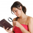 Woman searching the bible concept — Stock Photo #8272559