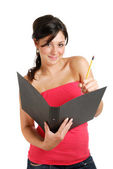Female student holding a folder and pencil — Stock Photo