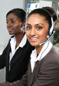 Asian helpdesk support operator — Stock Photo