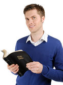 Committed christian reading bible — Stock Photo