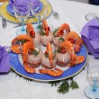 Plate of shrimp and salmon mousse in glasses - 图库照片