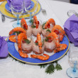 Plate of shrimp and salmon mousse in glasses - Stockfoto