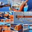 Mixed collage of details of old sailboat — Stock Photo #8622520