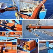 混合拼贴画的旧帆船的详细信息 — 图库照片