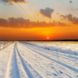 Stock Photo: Red sunset over road with snow