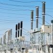General view to high-voltage substation - Stock Photo