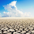 Land with dry cracked ground under blue sky — Stock Photo
