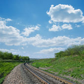 Railway goes to horizon in green landscape — Stock Photo