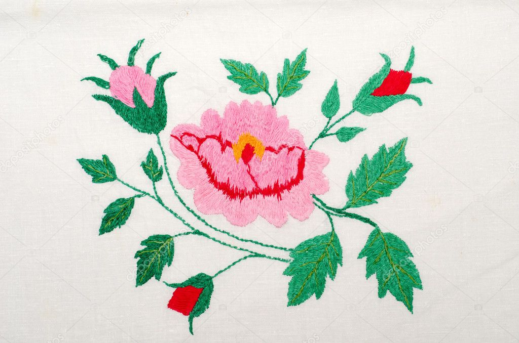 Roses As Handicraft Embroidery Good  Stock Photo  Mycola
