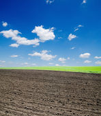 Black ploughed field and cloudy sky — Stock Photo