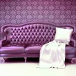 Luxurious leather sofa with covering in interior with ornament — Stock Photo