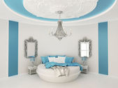 Round bed in baroque interior. Luxurious furniture in Blue room — Stock Photo