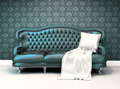 Modern leather sofa with covering in interior room apartment wi — Foto Stock