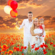 Stock Photo: Happy family on Field of poppies spring flowers, sunset outdoors
