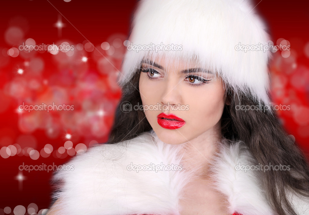 Sexy lady with red lips on red  bokeh abstract  Stock Photo #8003516